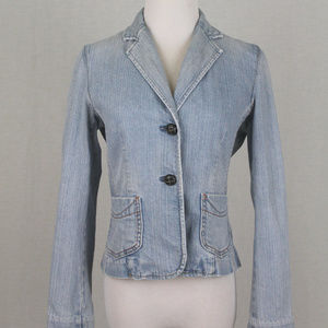Vintage GAP Denim Blazer w/Ticking Stripe Lining 4